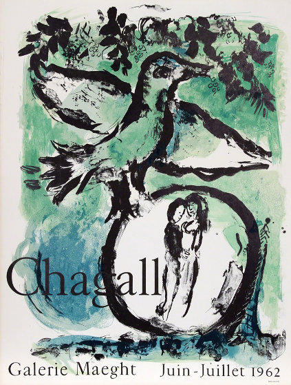 Green Bird Gallerie Maeght, Paris Poster 1962 by Marc Chagall