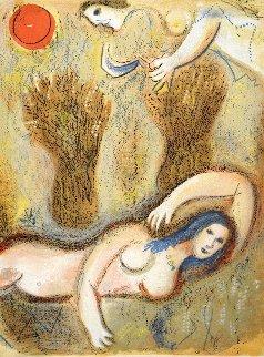 Booz Se Réveille Et Voit Ruth à Ses Pieds 1956 Limited Edition Print - Marc Chagall