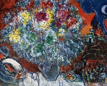 Bouquet De Fleur Et Amants Limited Edition Print - Marc Chagall