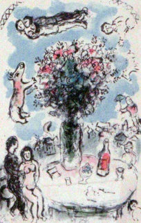 Lovers Table 1983 Limited Edition Print by Marc Chagall