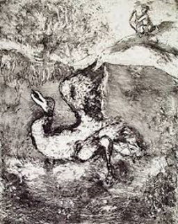 Bird Wounded By an Arrow, From Les Fables De La Fontaine Volume 1 1952 Limited Edition Print by Marc Chagall