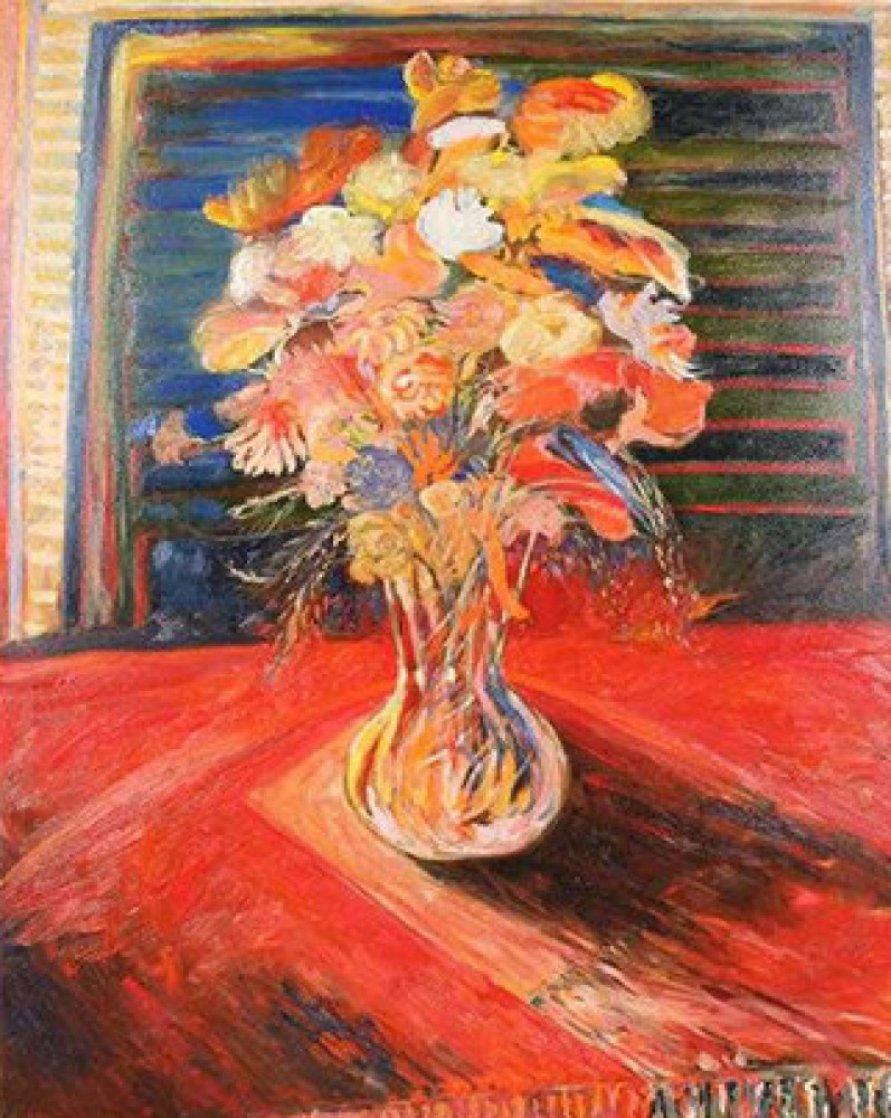 Monumental Bouquet   1936 60x48 Super Huge Original Painting by Yehouda Chaki