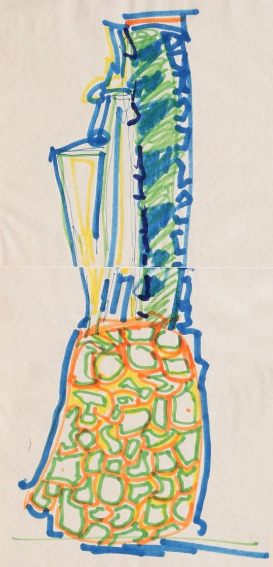 Blue Pineapple Drawing 1981 Works on Paper (not prints) by John Chamberlain