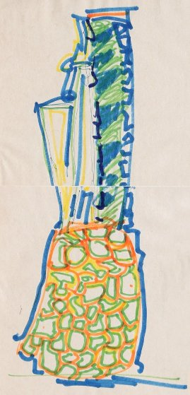 Blue Pineapple Drawing 1981 Drawing by John Chamberlain