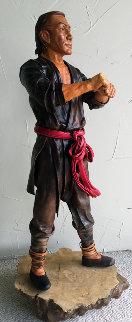 Taiwan Man Unique Leather Sculpture 24 in Sculpture - Liu Miao Chan