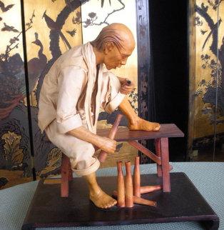 Loh Han Unique Leather Sculpture 1980 Sculpture - Liu Miao Chan
