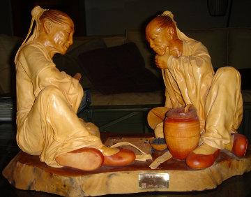 Chess Game Leather Sculpture 1989 29 in Sculpture - Liu Miao Chan