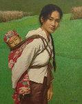 Ba Shan Mother 1996 33x39 Original Painting - Liu ChangWen