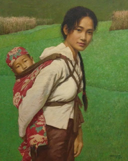 Ba Shan Mother 1996 33x39 Original Painting - Liu ChangWen
