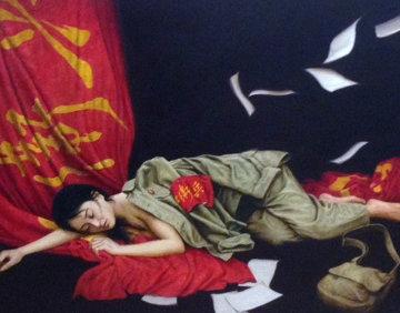 Red Youth 1996 41x33 Huge Original Painting - Liu ChangWen