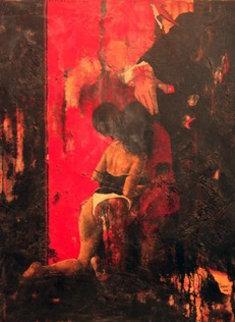 Pour Ceux Pour Qui Aimer Est Urgent 2002 51x38 Original Painting - Jean Pierre Chardot