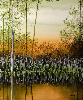 Willow Lake 2010 12x12 Original Painting - Robert Charon