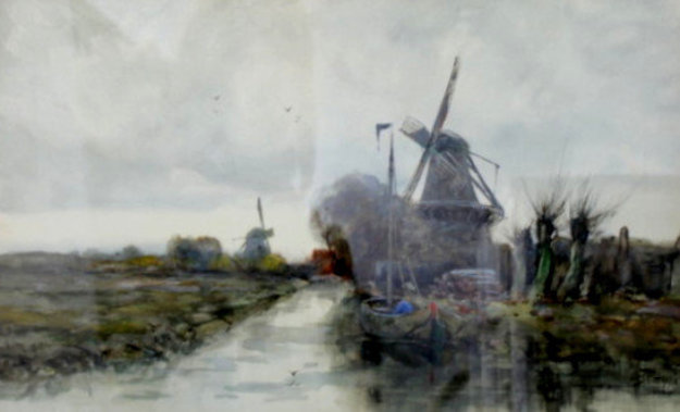 Harbor Scene 20x27 Watercolor by Charles Gruppe