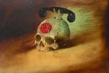 Skull-phone 1999 Original Painting by Genia Chef