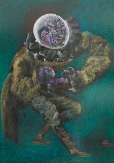 Pierrot, Self Portrait Pastel 1986 47x36 Works on Paper (not prints) - Mihail Chemiakin