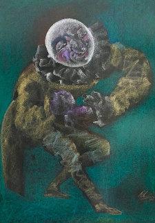 Pierrot, Self Portrait Pastel 1986 47x36 Huge Works on Paper (not prints) - Mihail Chemiakin