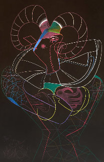 Dancing Fawn II 1983 52x39 Super Huge Original Painting - Mihail Chemiakin