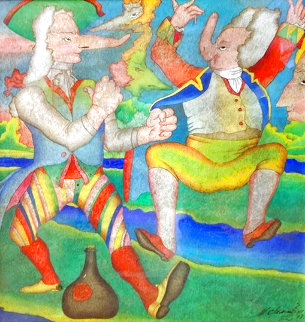Carnival in St. Petersburg 1978 22x21 Original Painting - Mihail Chemiakin