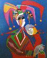Petroushka 1994 50x39 Original Painting - Mihail Chemiakin