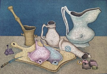 Still Life With Fish And Bread 1966 (Early) Limited Edition Print - Mihail Chemiakin