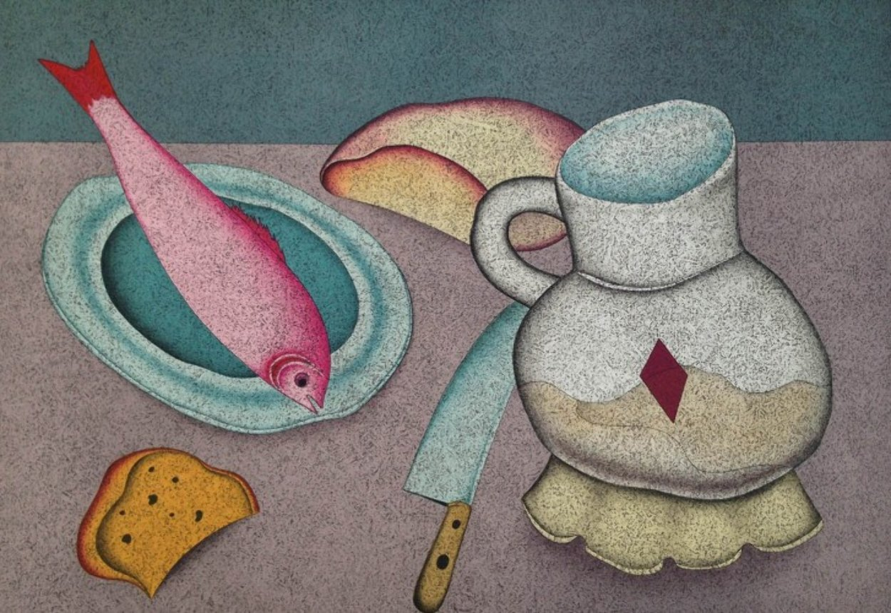 Still Life With Fish And Bread Limited Edition Print by Mihail Chemiakin