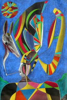 Untitled - Man With Pipe Pastel 1989 61x41  Huge Original Painting - Mihail Chemiakin