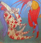M. Peugzih, Carnival St. Peterburg 1978 27x27 Original Painting - Mihail Chemiakin