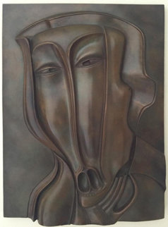 St. Christopher Bronze Bas Relief Sculpture 18x13 1984 Sculpture by Mihail Chemiakin
