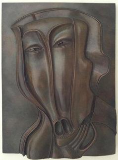 St. Christopher Bronze Bas Relief Sculpture 18x13 1984 Sculpture - Mihail Chemiakin