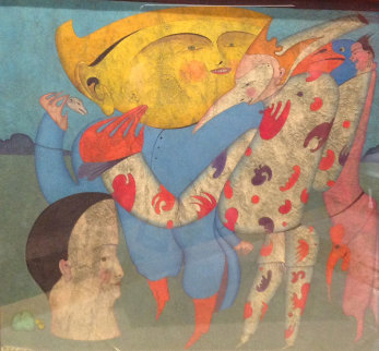 M. Peugzih, Carnaval St. Peterburg 1978 12x12 Original Painting - Mihail Chemiakin