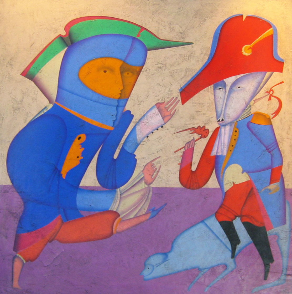 Two Generals 1978 52x52 Super Huge Original Painting by Mihail Chemiakin