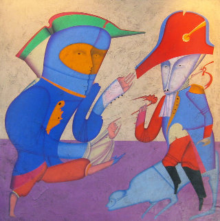 Two Generals 1978 52x52 Super Huge Original Painting - Mihail Chemiakin
