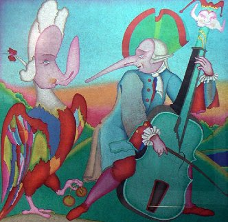 Carnival Et Musician 1995 w Remarque Limited Edition Print by Mihail Chemiakin