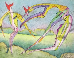 Metaphysical Rainbow Early Watercolor 1977 22x24 Watercolor - Mihail Chemiakin