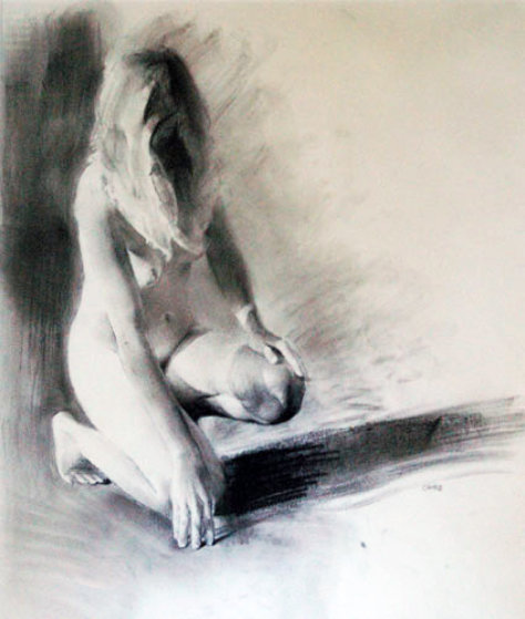 Nude Girl Kneeling 1992 23x17 Works on Paper (not prints) by Chase Chen