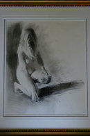 Nude Girl Kneeling 1992 23x17 Works on Paper (not prints) by Chase Chen - 1