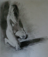 Nude Girl Kneeling 1992 23x17 Works on Paper (not prints) by Chase Chen - 3