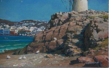 Mykonos Windmill And Little Venice 2009 22x26 Original Painting - Alexander Chen