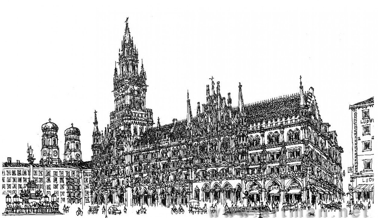 Marienplatz in Munich Drawing 2008 11x17 Drawing by Alexander Chen