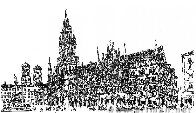 Marienplatz in Munich Drawing 2008 11x17 Drawing by Alexander Chen - 0