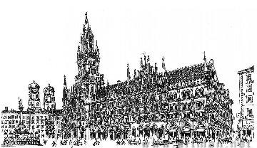 Marienplatz in Munich Drawing 2008 11x17 Drawing - Alexander Chen