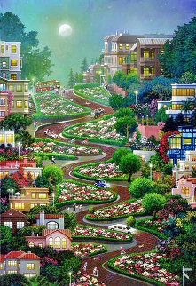 Moon Over Lombard Street AP San Francisco Limited Edition Print - Alexander Chen