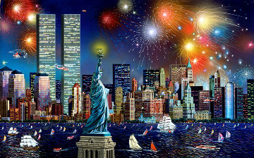 Manhattan Celebration, New York Embellished 2006 Limited Edition Print by Alexander Chen
