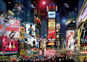 Times Square Parade 2007 New York Embellished Limited Edition Print by Alexander Chen