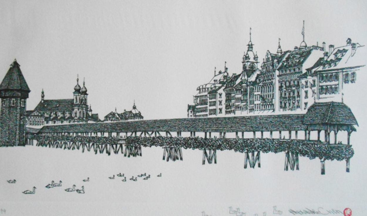Chapel Bridge Lucerne w remarque 2008 Limited Edition Print by Alexander Chen