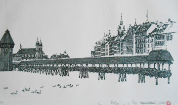 Chapel Bridge Lucerne w Remarque 2008 Limited Edition Print - Alexander Chen
