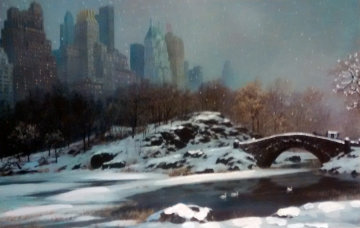 Central Park Bridge Winter, New York 2005 Embellished Limited Edition Print by Alexander Chen