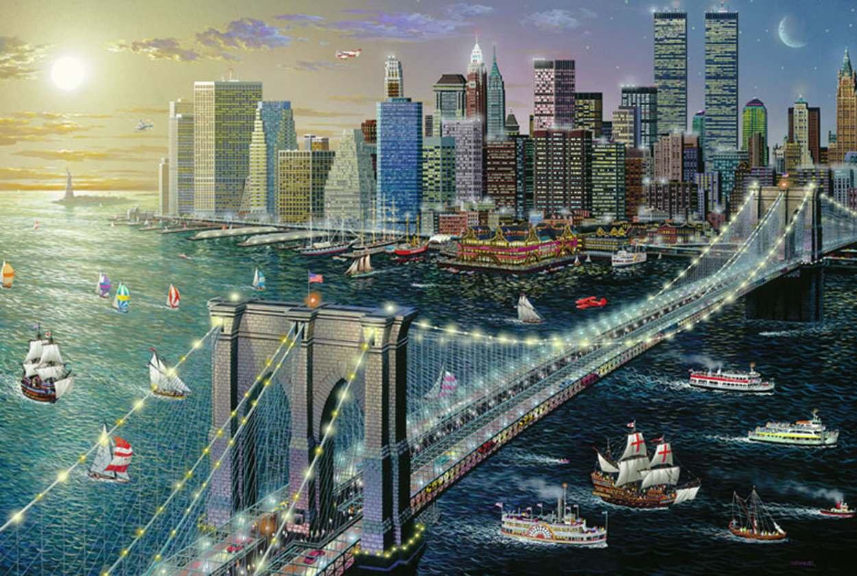 Brooklyn Bridge Embellished New York 2002 Limited Edition Print by Alexander Chen