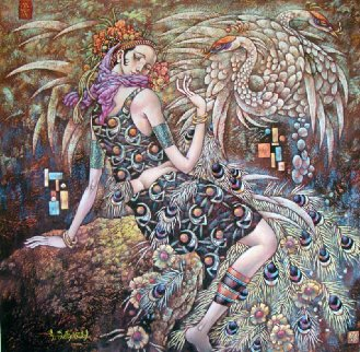 Peacock Spirit 2004 52x52 Huge Works on Paper (not prints) - Li Chengzhong