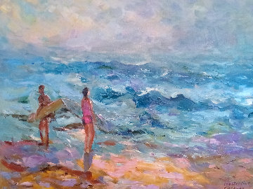 Choppy Seas 2004 34x40 Super Huge Original Painting - Constantine Cherkas